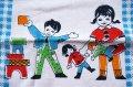 子供ハンカチ◆お人形遊びvs積み木遊び