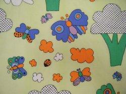 画像1: 昭和レトロっぽい(?)蝶の生地(はぎれ大)