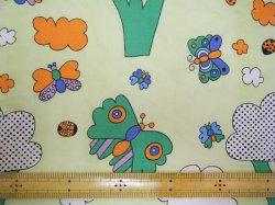 画像2: 昭和レトロっぽい(?)蝶の生地(はぎれ大)