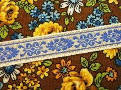 画像1: 麻地にやわらかな青い模様が入ったチロル