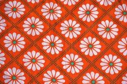 画像1: 70's◆並んだマーガレットの花ファブリック