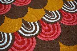 画像1: ドイツ70年代◆暖色系のウロコ模様カーテン