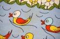 70's◆とぼけた表情の鳥、花、蝶々の生地(はぎれ)