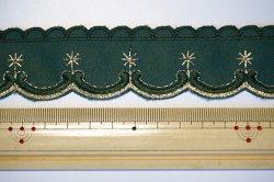 画像3: クリスマス風?緑地に金色刺繍のトリム