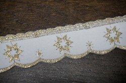 画像2: まるでホワイトクリスマス♪金色刺繍のトリム